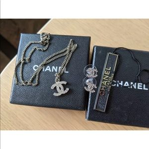 Chanel Logo Necklace CC And CC Logo Earrings